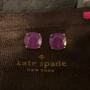 Purple kate spade square stud earrings